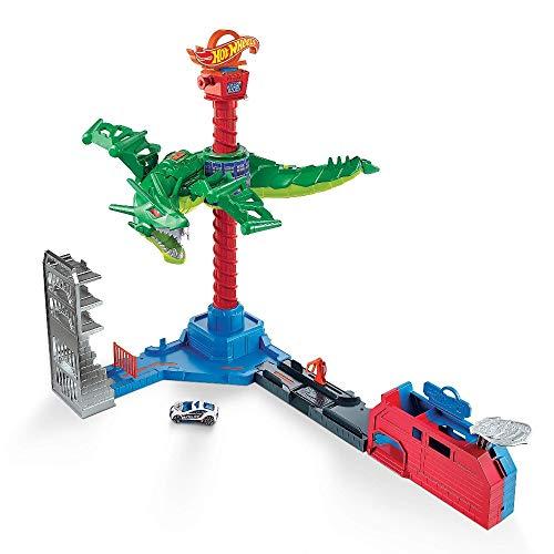 Hot Wheels- City Attacco Aereo del Drago,Playset Motorizzato con Suoni e 1 Macchinina Giocattolo per Bambini 3+Anni, Multicolore, GJL13