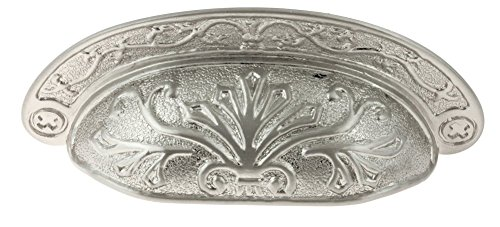 Baroque Style Brushed Nickel Drawer Bin Pull   Centers: 2 1/2'   Pull Cup Handle for Antique Cabinet Door, Dresser Drawer, Desk   Furniture Reproduction Hardware   P24-P2683 (1)