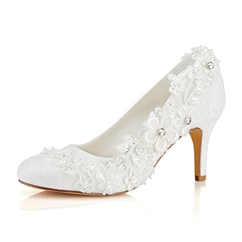 Emily Bridal Hochzeitsschuhe Damen Seide wie Satin Stöckel Absatz Pumps mit Stitching Spitze Blume Crystal Pearl, Elfenbein, 37 EU (4 UK)