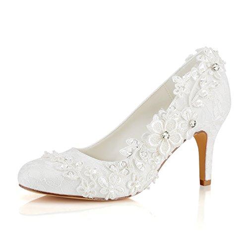 Emily Bridal Hochzeitsschuhe Damen Seide wie Satin Stöckel Absatz Pumps mit Stitching Spitze Blume Crystal Pearl,  Elfenbein,  39 EU (6 UK)