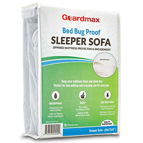 Guardmax Sleeper Sofa Mattress Protector Cover Zippered | 100% Waterproof Bed Bug Encasement | Soft, Hypoallergenic and Breathable | Sofa Bed Mattress Cover (60x72x5)