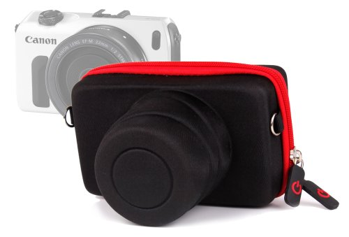 DURAGADGET Funda/Estuche Rígida para Canon EOS M | M10 | M2 - Roja Y Negra - Cierre De Cremallera Y Banda para El Cinturón