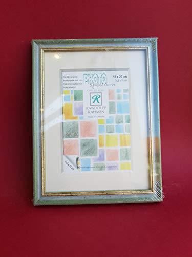 Randolff Natur-Holz-Rahmen grün mit Goldrand 15x20 (10,5x15 mit Passepartout)