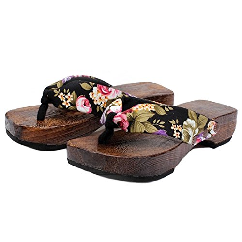 Ainiel Woman's Japanese Traditional Clogs Geta Sandals (40(US9.5), Black)