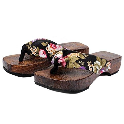 Ainiel Woman's Japanese Traditional Clogs Geta Sandals (36 (US5.5), Black)
