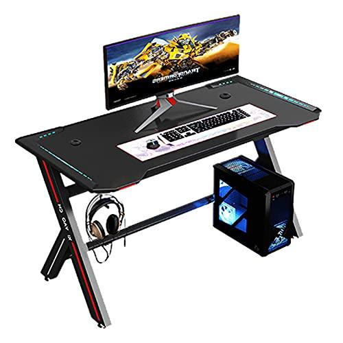 Scrivania da gioco Moderna casa desktop computer e-sports tavolo da gioco semplice singolo con illuminazione RGB auricolare stand tavolo da gioco, Nero, 140 * 60 * 74