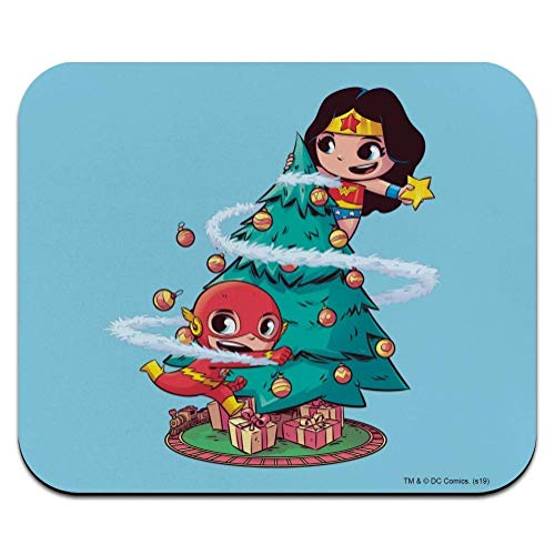 Won-der-Woman and Flash Christmas Tree Low Profile Thin Mouse Pad Mousepad 25x30cm
