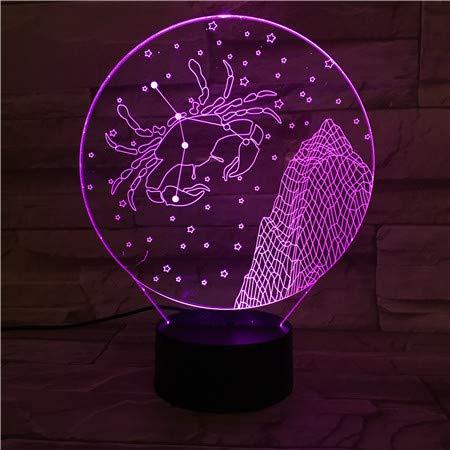 Sanzangtang LED-nachtlampje, 3D-vision-zeven, kleuren-afstandsbediening, western Zodiac tafellamphouder, kleurverandering, voor kinderen en baby's, nachtlampje