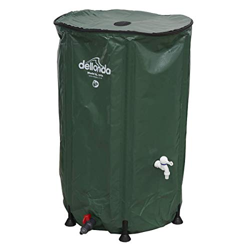 Dellonda Collapsible PVC Garden Water Butt with Zipped Lid & Drain Tap, 250L - DG9