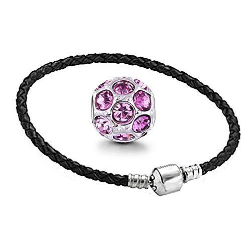 AKKi jewelry Beads Armband Set Edelstahl Perle bettel Leder-Armband Charms Bead Silber Original Strass mit Pandora Style Kompatibel NEU 17cm