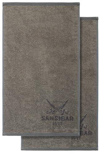 Sansibar Set di 2 asciugamani per ospiti, double-face, 30 x 50 cm, 2 colori, 100% cotone, tortora/antracite