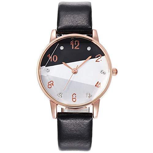 ZSDGY Reloj Creativo de 3 Colores con Esfera Informal, Reloj de Cuarzo con Correa Fina para Mujer de Cristal de Cuarzo A