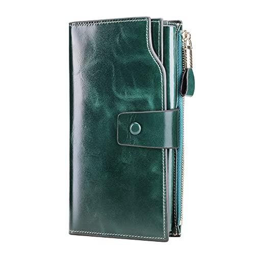Itslife Women's RFID Blocking Large Capacity Luxury Wax Genuine Leather Clutch Wallet Card Holder Ladies Purse(Green RFID Blocking)