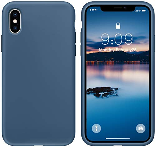 cillen Case for iPhone X/iPhone Xs Case 5.8 inch Liquid Silicone Gel Rubber Phone Case, Slim Soft Microfiber Lining Cushion Shockproof Protective Case Compatible with iPhone Xs (Blue Cobalt)