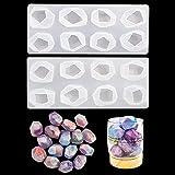 Rolin Roly 2PCS Moldes de Fundición de Resina Irregular Molde de Cristal Multifacet Moldes de Silicona Epoxi Molde de Joyas de Piedras Preciosas Geométricas DIY Craft