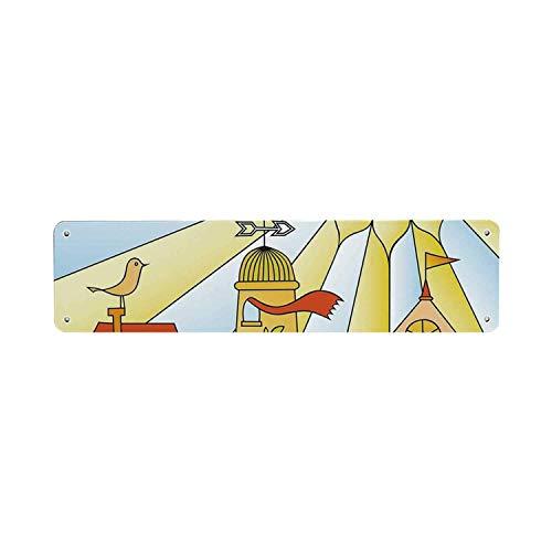 Inga - Letrero de Lata para habitación de niños, diseño Infantil de Dibujo de Ciudad bajo el Sol Sonriente, Casas de Dibujos Animados, jardín, Nube, guardería, 10 x 40 cm