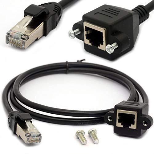 1,5 m RJ45 Ethernet Verlängerung Kabel Cat 5e/5 CAT 6 STECKER AUF BUCHSE geschirmt Schraube Panel Mount Internet LAN Netzwerk führen