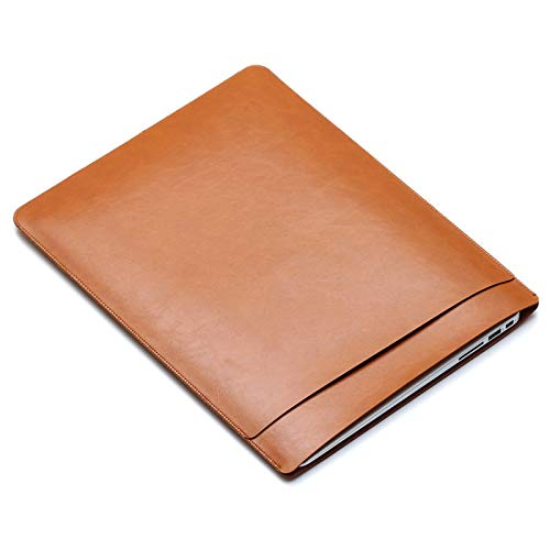 ZHANGHUI Protective Case Cover Laptop PU Leather Double Inner Bag for MacBook Pro 13.3 inch A1708 (2016-2017) / A1706 (2016-2017) (Color : Light Brown)