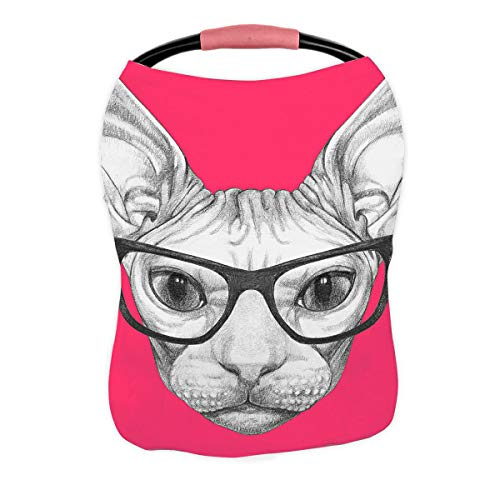 Buy Bargain ABPHQTO Portrait of Sphynx Cat with Glasses Nursing Cover Baby Breastfeeding Infant Feed...