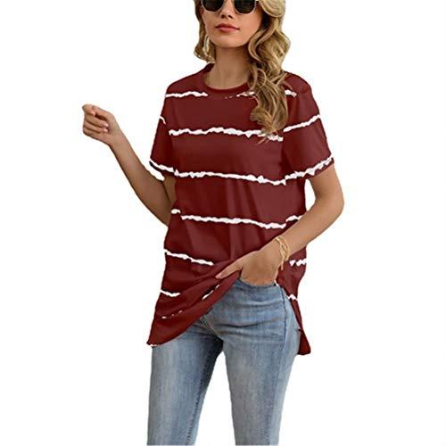 ZFQQ Camiseta Estampada de Rayas onduladas de Primavera y Verano para Mujer, Cuello Redondo, Camiseta de Manga Corta Dividida