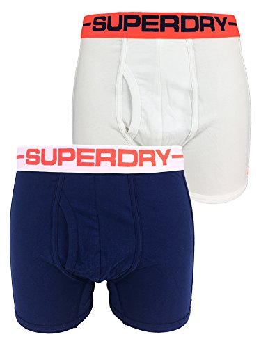 Superdry Mens Sport Boxer Double Pack in Optic and Richest Navy Small