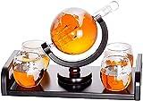 Carafe à Whisky Carafe à Décanter Whisky Carafe 1000 Ml soufflés à la bouche Globe and 4 verres Ensemble de 300 ml en verre du monde Decanter Gin Bouteille en verre Sloe Liqueur schnaps vin Decanter