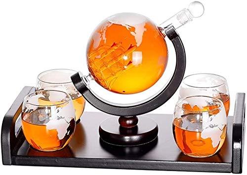 Vasos de Whisky Jarra de Whisky Whisky Garrafa 1000 ml de boca del globo y de 4 vasos de 300 ml Conjunto de cristal Decanter World Gin Botella endrino licor del vidrio de aguardiente de vino Decanter