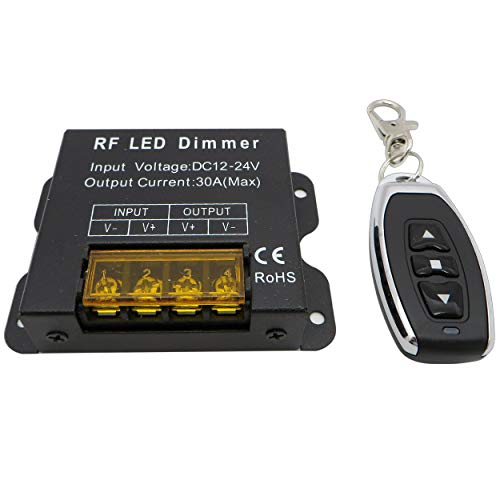 Regulador de intensidad/interruptor LED de 12 V CC con mando a distancia para todas las lámparas LED regulables con enchufe y enchufe (30 A), color negro