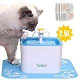 Veken Pet Fountain, 84oz/2.5L Automatic Cat Water Fountain Dog Water Dispenser with 3 Replacement Filters & 1...