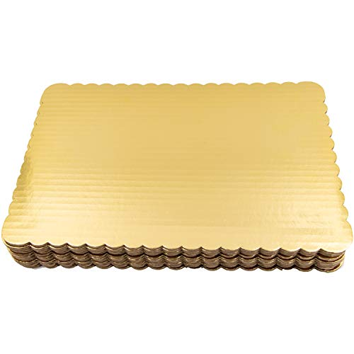 Gold Quarter Sheet Cake Board Sturdy Rectangle Greaseproof Pad Full 12 Pk Boards