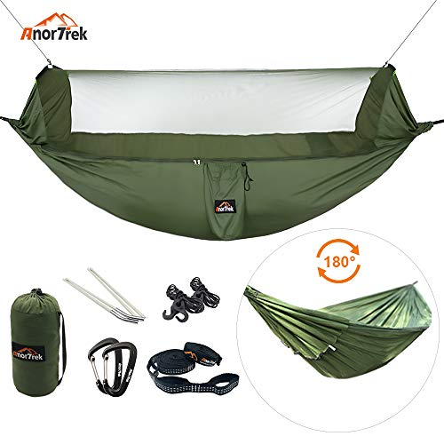 AnorTrek Camping Hammock with Mosquito Net, Lightweight Portable Double Hammock with Two 10 FT Hammock Tree Straps, Soft Square Ripstop Nylon Hammock for Camping, Hiking, Garden, Yard, Backpacking