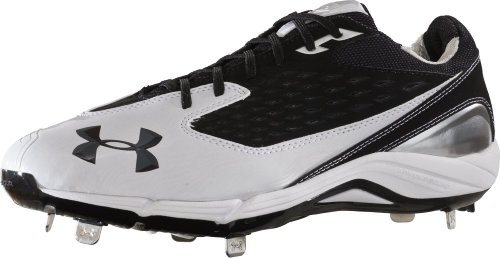 Under Armour New Other Men's Natural II Low Metal Baseball Cleats, White/Black, 13 M US