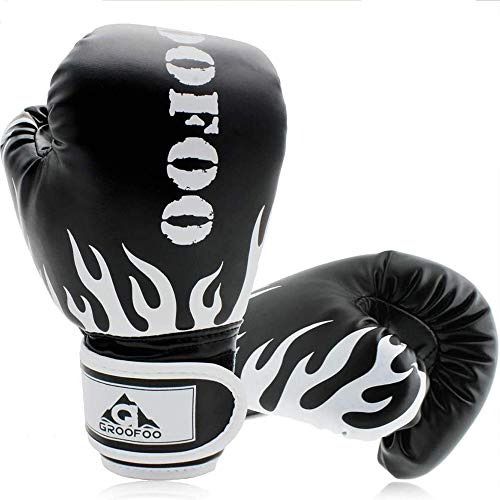 GROOFOO Kinder Boxhandschuhe für Kinder Boxsack Sparring Training, 4oz fit 3 bis 9 Jahre - Schwarz