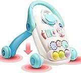 SONG Mini Carro del Andador del Empuje del Bebé del Tanque de Agua con La Música, Caminante de Aprendizaje de Pie y Sentado Anticolisión Ajustable en Altura Multifunción,Blue