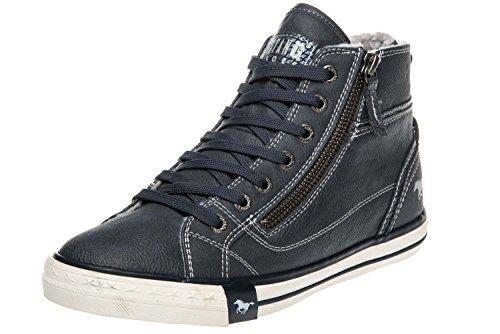 MUSTANG Damen High Top Sneaker gefüttert Blau, Schuhgröße:EUR 45