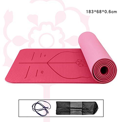 SHU Yoga Matte Verdickung Verbreiterung und Erweiterung Umweltschutz Netto Geschmack, Stoßdämpfung Rückprall Fitness Matte Tanz rutschfeste Matte nach Hause, TPE Matte-SkyBlue-A