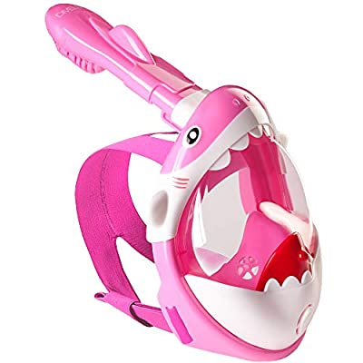 DIVELUX Snorkel Mask - Original Full Face Snorkeling and Diving Mask with 180° Panoramic Viewing - Longer Ventilation Pipe, Watertight, Anti Fog & Anti Leak Technology, for Kids (Pink, XS)