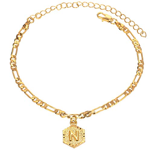 18k Gold Plated 4mm Figaro Chain Initial Anklet for Women Fashion Ankle Bracelet with Letter Alphabet Foot Jewelry with Extension (N)