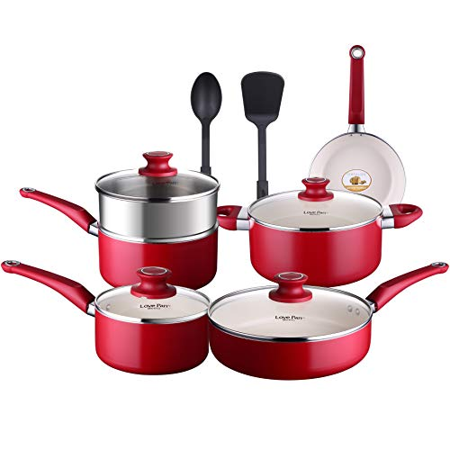 COOKSMARK Lovepan Beets Pots and Pans Set, Red