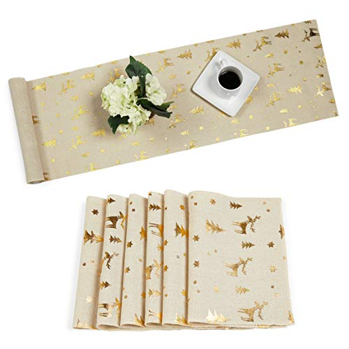 Juvale Christmas Gold Foil Dining Table Runner and Placemats, Set of 6 (7 Pieces)