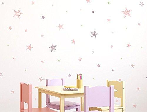 I-love-Wandtattoo Pegatina de Pared Set habitación Infantil Estrella con Las pautas de Las niñas para Pegar Mural Pegatinas