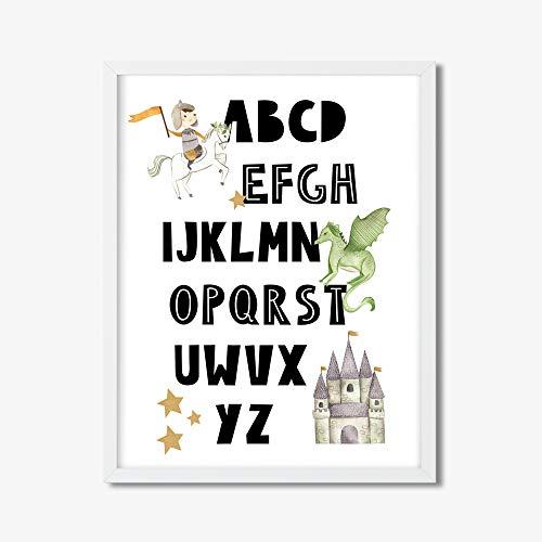 Todghrt Nursery Alphabet Imprimable garçons Alphabet Impression garçon Lettres Poster Minimaliste éducatif Mural Art Nordique Chambre de bébé Cadeau Cadeau