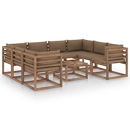 vidaXL Set di mobili da giardino, 9 pezzi, con cuscini color talpa, set da giardino, divano angolare, divano da giardino