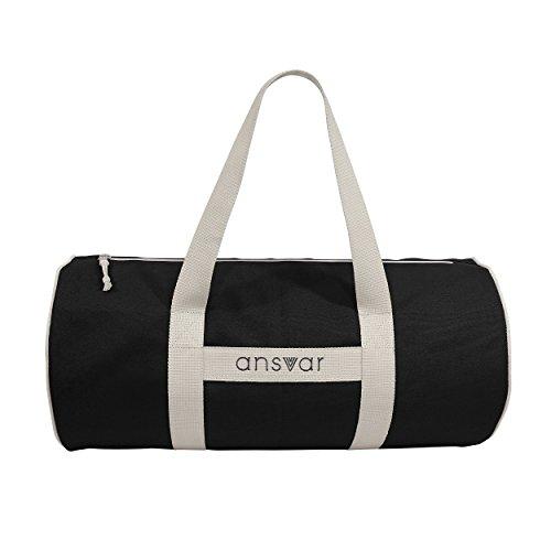 Sporttasche ansvar III aus Bio Baumwoll Canvas - Hochwertige Damen & Herren Sporttasche, Duffle Bag aus 100% nachhaltigen Materialien - mit GOTS & Fairtrade Zertifizierung, Farbe:anthrazit