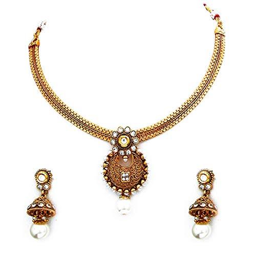 55Carat Juego de collar de boda de diseño elegante chapado en oro de 18 quilates con perlas de gota Jhumki, hecho a mano, hermoso juego de joyería de diseño para hermana y esposa