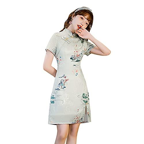 Abiti da Donna Moda, Summer Casual Ladies Cheongsam, Collare in Stand-up Cinese Qipao, Cocktail Party Dent Abiti Green-XXL