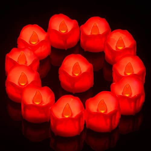 PChero Velas LED rojas, 12 unidades, con temporizador, funciona con pilas, velas parpadeantes con diseño de cera en forma de gota, para bodas, fecha, decoración, color rojo