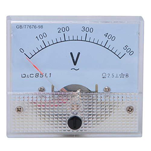 Medidor de panel de aguja de puntero de voltios analógico cuadrado Voltímetro de puntero de CA 0-500V Rango de escala Medidor de prueba de voltaje Detector Medidores de panel