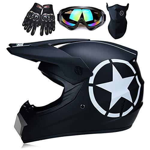 ZJRA Black Star Full Face Helmet with Goggles Gloves Mask Helmet, MTB Adult Motorcycle Motocross Helmet Set Motorbike Off Road Crash Helmet Protective Gear,DOT,M56~57cm