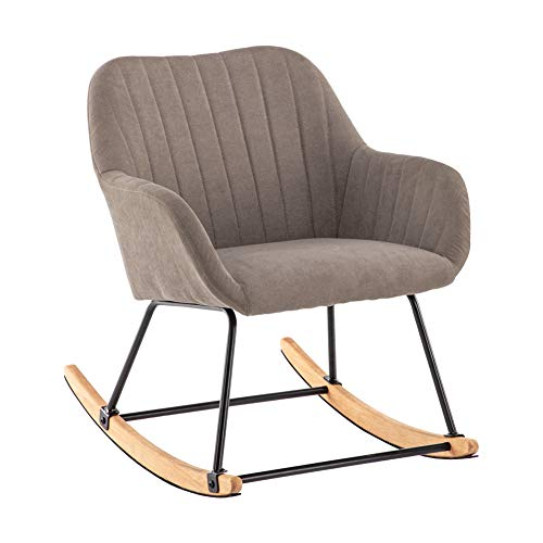 INMOZATA Rocking Chair Comfortable Linen Fabric Recliner Relaxing Chair Relax Lounge Chair with Soft Cushion for Bedroom Living Room Nursery Chair (Coffee)